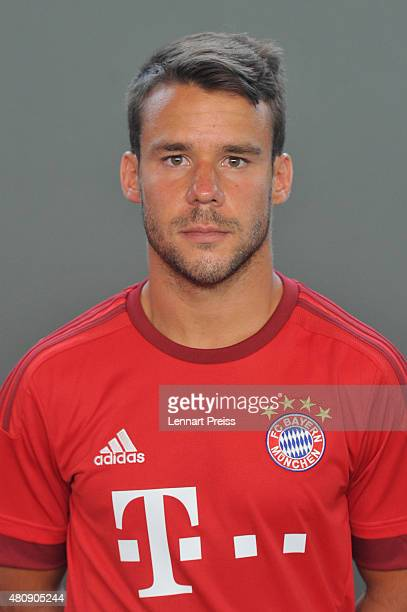 Juan Bernat poses during the team presentation of FC Bayern Muenchen at Bayern's training ground Saebener Strasse on July 16 2015 in Munich Germany
