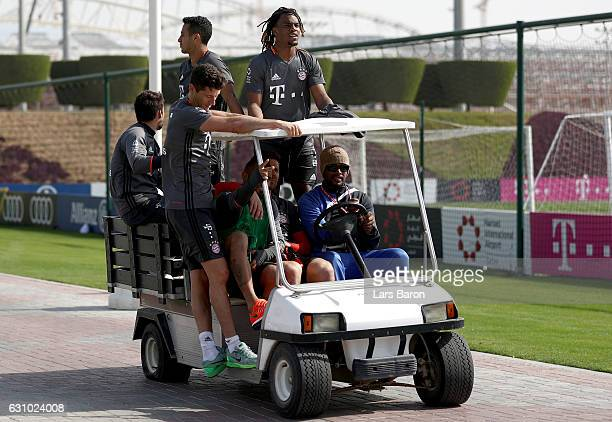 Juan Bernat Thiago Robert Lewandowski Xavi Alonso Arturo Vidal and Renato Sanches are seen on a golf cart during a training session at day 3 of the...