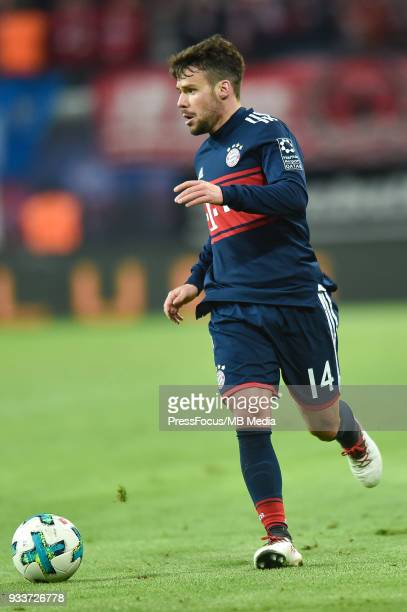 Juan Bernat Velasco of Bayern Muenchen during the Bundesliga match between RB Leipzig and FC Bayern Muenchen at Red Bull Arena on March 18 2018 in...