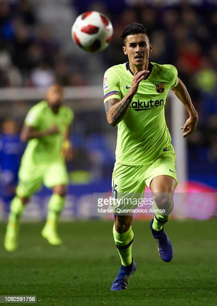 Juan Brandariz Chumi of FC Barcelona runs with the ball during the Copa del Rey Round of 16 first leg match between Levante UD and FC Barcelona at...