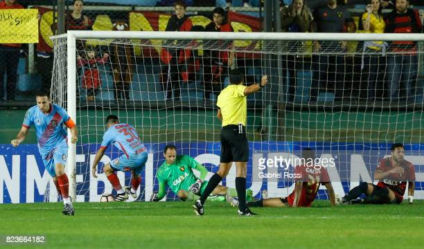 Juan Brunetta of Arsenal celebrates after scoring the first goal of his team during a second leg match between Arsenal and Sport Recife as part of...