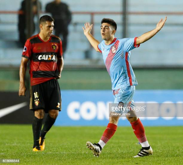 Juan Brunetta of Arsenal celebrates after scoring the opening goal during a second leg match between Arsenal and Sport Recife as part of the second...