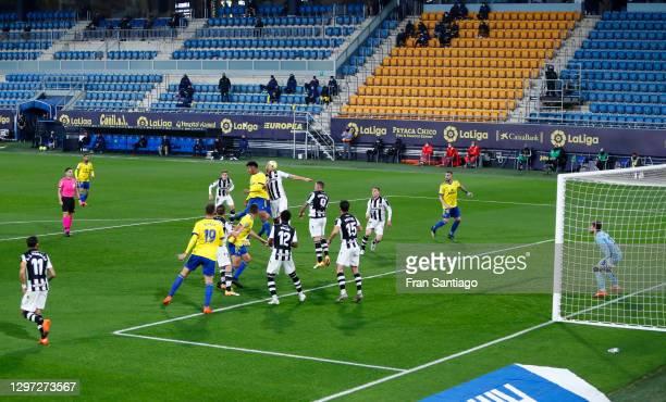 Juan Cala of Cadiz CF scores their side's second goal during the La Liga Santander match between Cadiz CF and Levante UD at Estadio Ramon de Carranza...