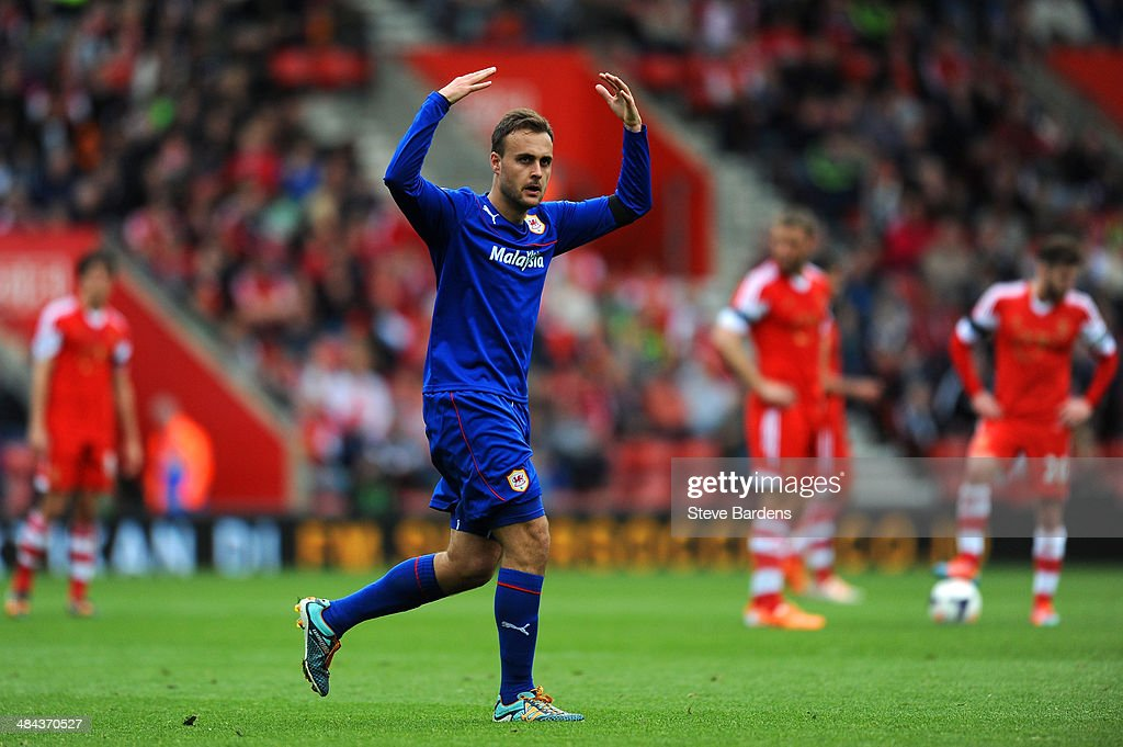 Juan Cala of Cardiff celebrates after scoring the opening goal during the Barclays Premier League match between Southampton and Cardiff City at St Mary's Stadium on April 12, 2014 in Southampton, England.