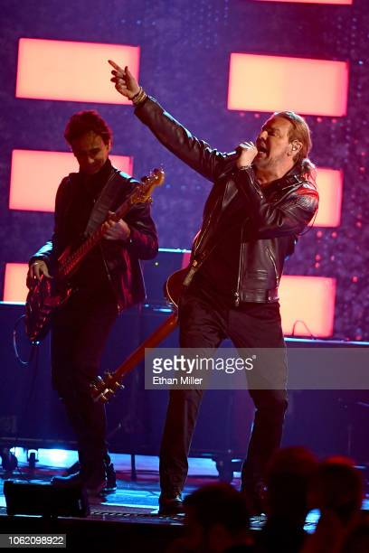 Juan Calleros and Fher Olvera of Mana perform onstage during the 19th annual Latin GRAMMY Awards at MGM Grand Garden Arena on November 15 2018 in Las...