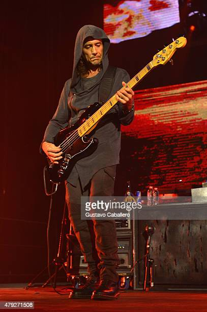 Juan Calleros of Charttopping band Mana performs at American Airlines Arena on the Miami stop of their Cama Incediada tour sponsored by Chivas Regal...