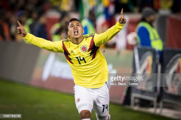 Juan Camilo Hernandez of Colombia holding up celebrates his goal in the second half of the International Friendly match between Columbia and Costa...