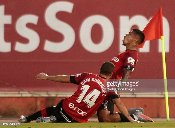Juan Camilo Hernandez of RCD Mallorca celebrates after scoring his team's first goal with his teammate Dani Rodriguez during the Liga match between...
