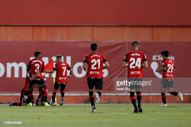 Juan Camilo Hernandez Suarez celebrates scoring his side's first goal in the 20th minute during the Liga match between RCD Mallorca and Granada CF at...