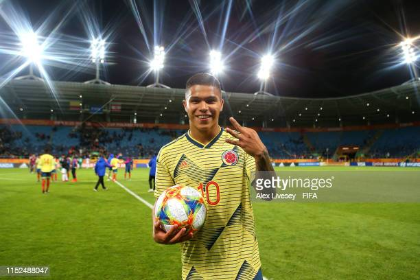 Juan Camilo Hernandez Suarez of Colombia poses for a picture after scoring a hattrick at the end of the 2019 FIFA U20 World Cup group A match between...
