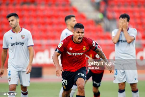 Juan Camilo Hernández Suárez 'Chucho' of RCD Mallorca celebrates after scoring his team's first goal during the Liga match between RCD Mallorca and...