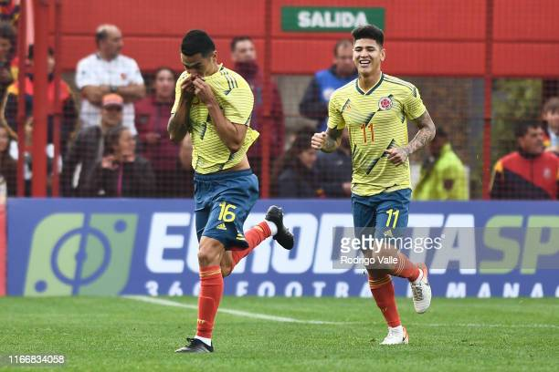 Juan Camilo Mesa of Colombia U23 celebrates after scoring the first goal of his team during a friendly match between Argentina U23 and Colombia U23...