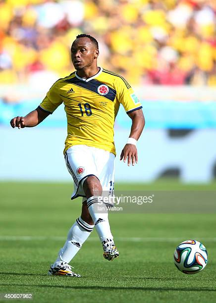 Juan Camilo Zuniga of Colombia kicks the ball during the 2014 FIFA World Cup Brazil Group C match between Colombia and Greece at Estadio Mineirao on...