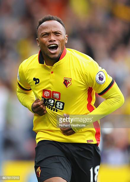 Juan Camilo Zuniga of Watford celebrates scoring his sides second goal during the Premier League match between Watford and Manchester United at...