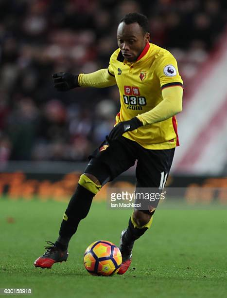 Juan Camilo Zuniga of Watford controls the ball during the Premier League match between Sunderland and Watford at Stadium of Light on December 17...