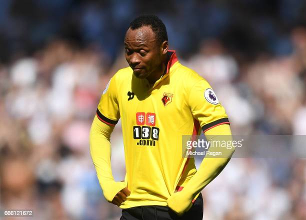 Juan Camilo Zuniga of Watford looks on during the Premier League match between Tottenham Hotspur and Watford at White Hart Lane on April 8 2017 in...