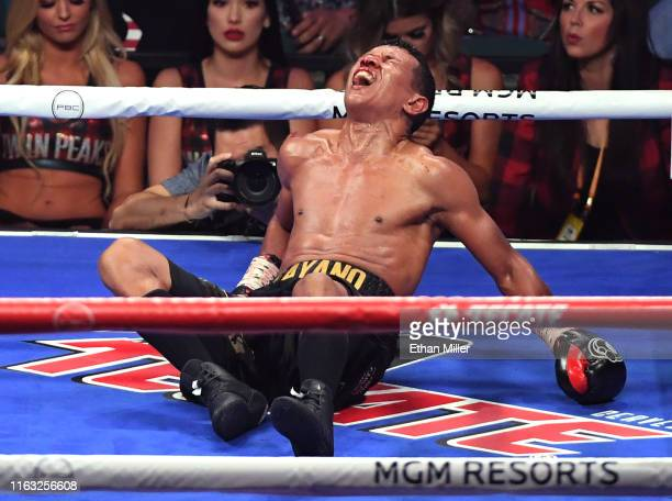 Juan Carlo Payano reacts after he was knocked out by Luis Nery in the ninth round of their bantamweight bout at MGM Grand Garden Arena on July 20,...