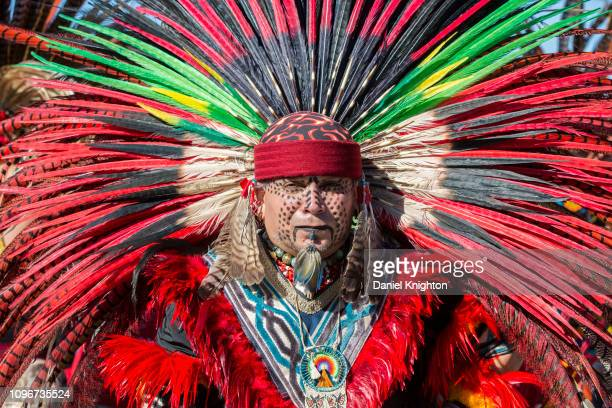 Juan Carlos a member of the Aztec Indian tribe attends Women's March San Diego on January 19 2019 in San Diego California