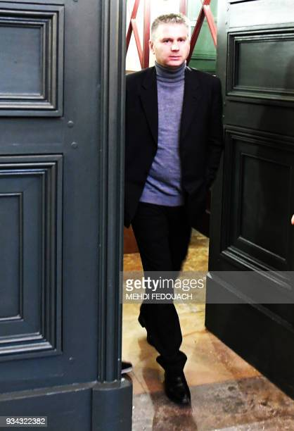 Juan Carlos Canete leaves the courthouse on March 19 2018 in Bordeaux after a hearing of the trial of his wife Ramona Canete accused of the murder of...