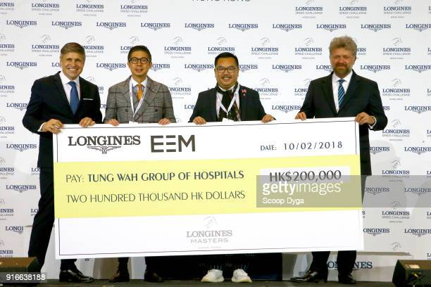Juan Carlos Cappelli Vice President and Head of International Marketing of Longines Philip Ma Dr Lee Yuk Lun and Christophe Ameeuw CEO of EEM during...