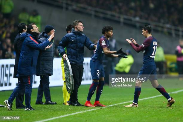 Juan Carlos Carcedo Angel Di Maria of Paris Saint Germain and Christopher Nkunku of Paris Saint Germain during the Ligue 1 match between FC Nantes...