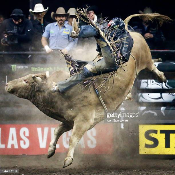 Juan Carlos Contreras rides bull Hedoo during Championship round of the 25th Professional Bull Riders Unleash The Beast on April 8 at Denny Sanford...