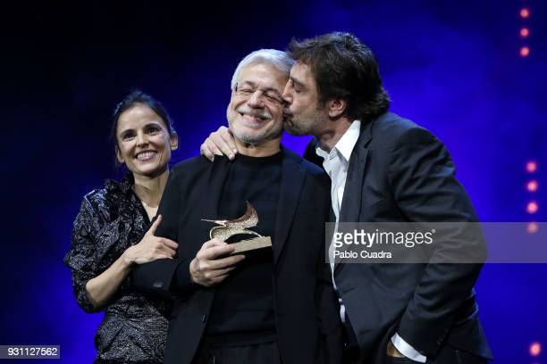 Juan Carlos Corazza Javier Bardem and Elena Anaya attend the 'Union de Actores' awards gala at Circo Price theater on March 12 2018 in Madrid Spain
