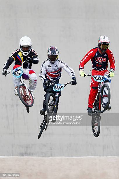 Juan Carlos Diaz Serna of Colombia, #251 Paddy Sharrock of Great Britain and Collin Hudson of USA in action at the official training session during...