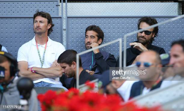 Juan Carlos Ferrero Marc Lopez Carlos Moya below them Daniel Vallverdu attend the spaniard match David Ferrer v Roberto Bautista Agut day 4 of the...