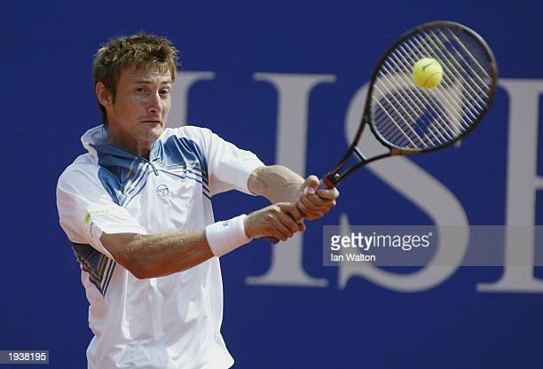 Juan Carlos Ferrero of Spain in action against Alberto Martin of Spain during the quarter final of the Tennis Masters at The Monte Carlo Country Club...
