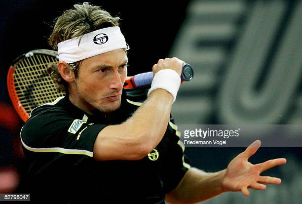 Juan Carlos Ferrero of Spain in action during his match against Marat Safin of Russia during the Masters Series Hamburg at Rothenbaum on May 11 2005...