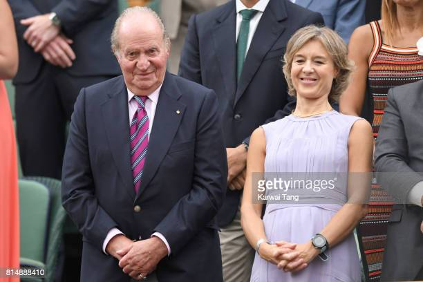 Juan Carlos I former King of Spain and Sofa of Spain attend day twelve of the Wimbledon Tennis Championships at the All England Lawn Tennis and...