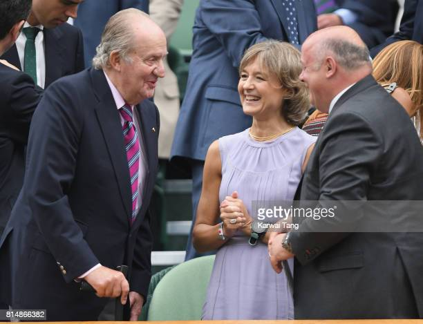 Juan Carlos I former King of Spain attends day twelve of the Wimbledon Tennis Championships at the All England Lawn Tennis and Croquet Club on on...