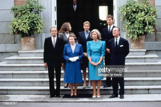 Juan Carlos I Princess Elena of Spain Queen Elizabeth II Princess Cristina of Spain Queen Sofia of Spain Prince Felipe of Spain Prince Philip pose...