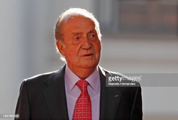Juan Carlos king of Spain looks to the front during the visit to the Presidential Palace on June 5, 2012 in Santiago, Chile.