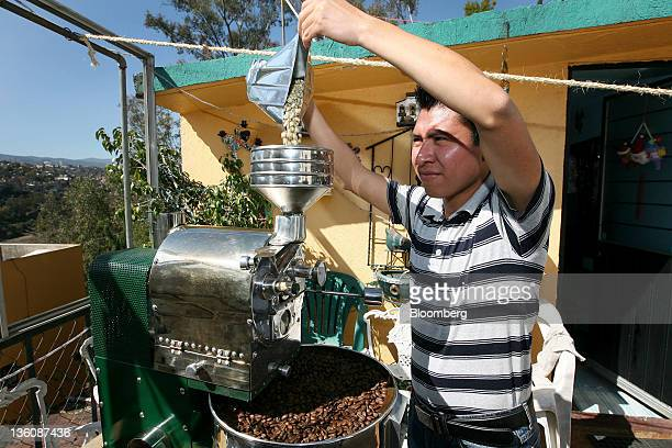 Juan Carlos Lopez an adviser to the Cafe Guerrero Maya cooperative fills a coffee roasting machine with coffee for a photograph in Mexico City Mexico...