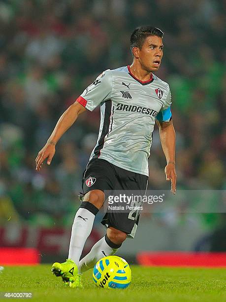 Juan Carlos Medina drives the ball during a match between Santos Laguna and Atlas as part of 7th round Clausura 2015 Liga MX at Corona Stadium on...