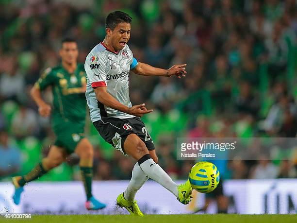 Juan Carlos Medina kicks the ball during a match between Santos Laguna and Atlas as part of 7th round Clausura 2015 Liga MX at Corona Stadium on...