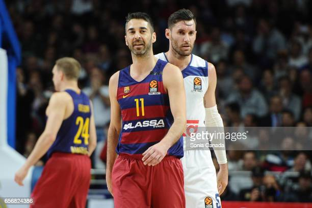 Juan Carlos Navarro #11 guard of FC Barcelona during the 2016/2017 Turkish Airlines Euroleague Regular Season Round 27 game between Real Madrid v FC...