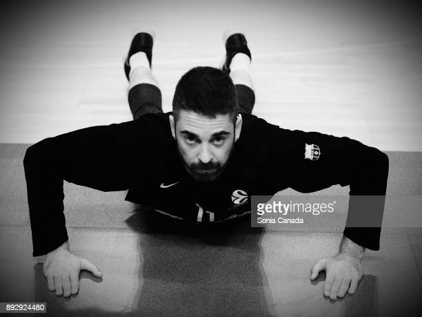 Juan Carlos Navarro #11 guard of FC Barcelona Lassa warms up prior the 2017/2018 Turkish Airlines Euroleague Regular Season Round 12 game between...