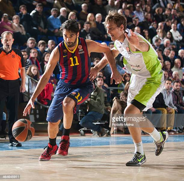 Juan Carlos Navarro #11 of FC Barcelona in action during the 20132014 Turkish Airlines Euroleague Top 16 Date 4 game between FC Barcelona Regal v...