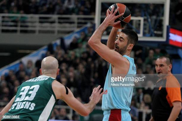 Juan Carlos Navarro #11 of FC Barcelona Lassa in action during the 2017/2018 Turkish Airlines EuroLeague Regular Season Round 17 game between...
