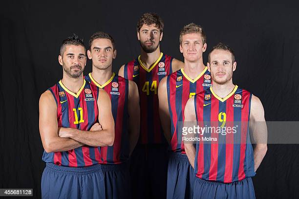 Juan Carlos Navarro #11 of FC Barcelona Tomas Satoransky #13 Ante Tomic #44 Justin Doellman #5 and Marcelinho Huertas #9 poses during the FC...