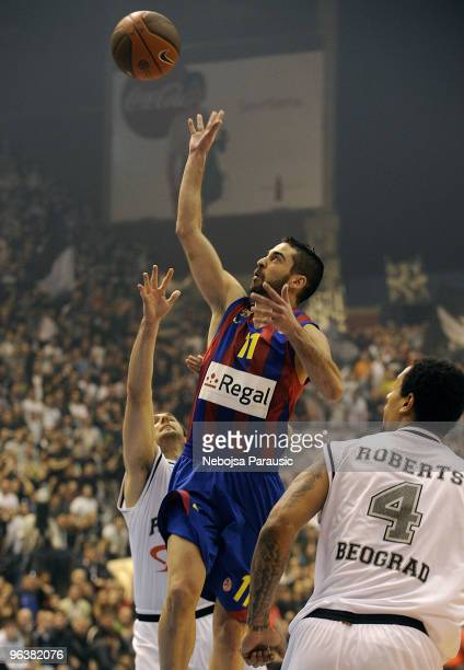Juan Carlos Navarro #11 of Regal FC Barcelona in action during the Euroleague Basketball 20092010 Last 16 Game 2 between Partizan Belgrade vs Regal...