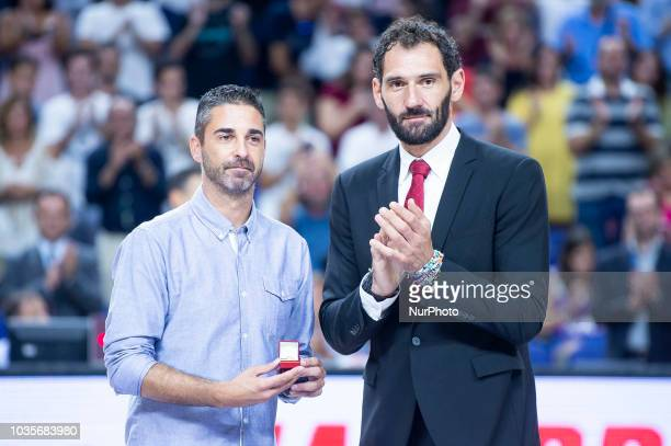 Juan Carlos Navarro and Jorge Garbajosa during the FIBA Basketball World Cup Qualifier match Spain against Latvia at Wizink Center in Madrid Spain...