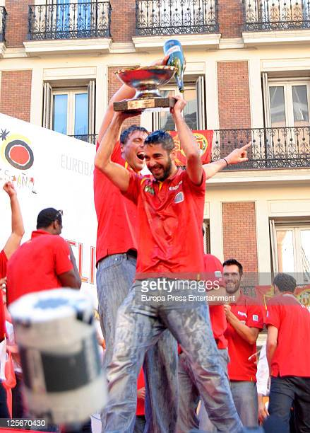 Juan Carlos Navarro and Marc Gasol celebrate Spain's gold medal victory in the Eurobasket 2011 Tournament in Callao Square on September 19 2011 in...