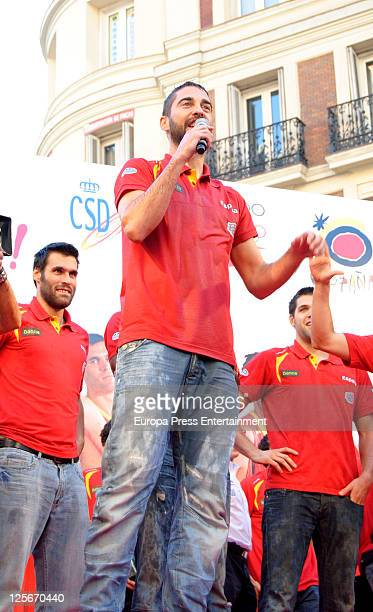Juan Carlos Navarro celebrates Spain's gold medal victory in the Eurobasket 2011 Tournament in Callao Square on September 19 2011 in Madrid Spain