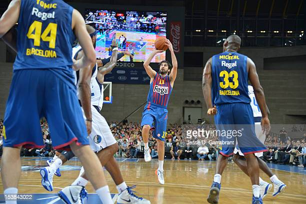 Juan Carlos Navarro of FC Barcelona Regal shoots against the Dallas Mavericks during the game at Palau St Jordi for NBA Europe Live 2012 on October 9...