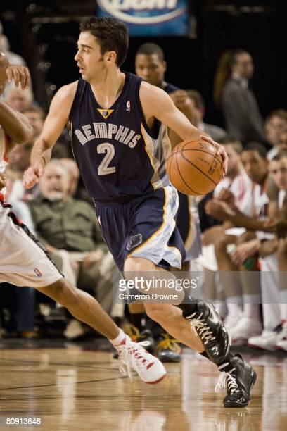 Juan Carlos Navarro of the Memphis Grizzlies moves the ball against the Portland Trail Blazers during the game on April 15 2008 at the Rose Garden...