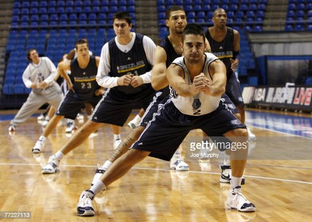 Juan Carlos Navarro of the Memphis Grizzlies stretches with his teammates during practice during EA Sports NBA Europe Live Tour at Palacio de...
